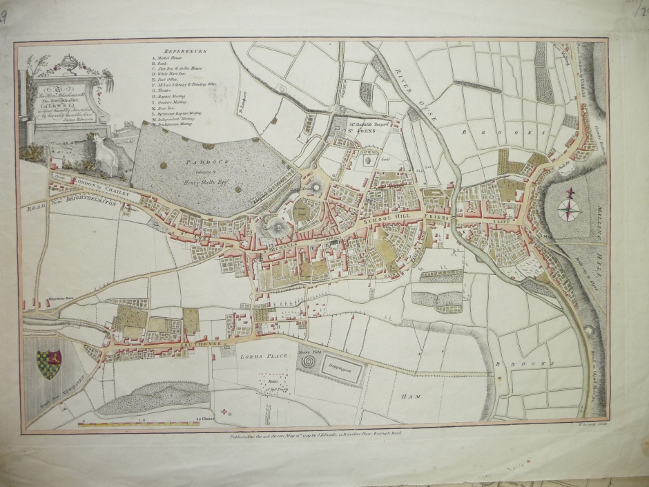 Lewes town plan 1799, by Edwards