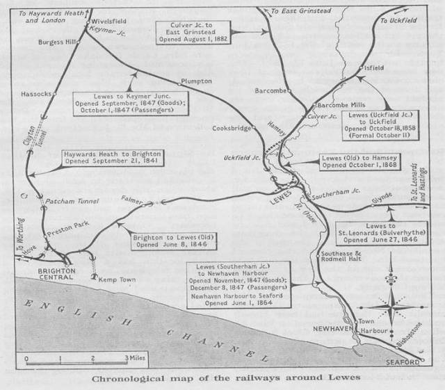 Map of railways around Lewes