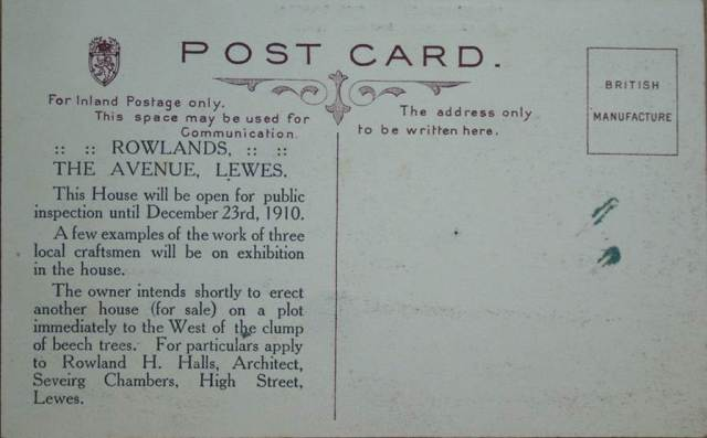 Rowlands, The Avenue, Lewes, advertising postcard