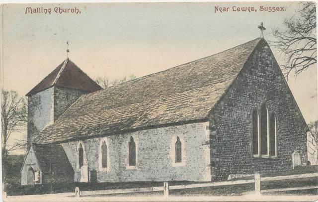 South_Malling_Church Mezzotint postcard
