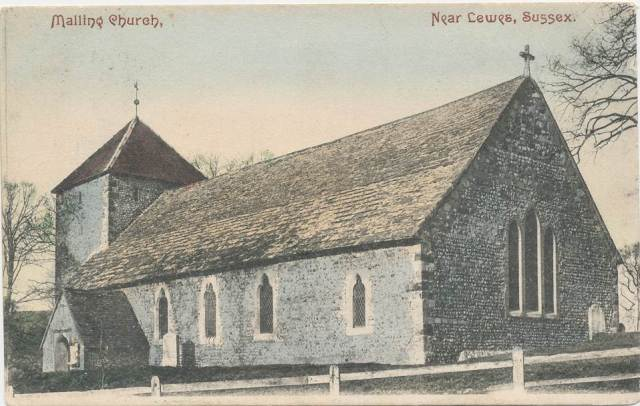 South_Malling_Church Mezzotint postcard