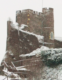 Lewes Castle in snow