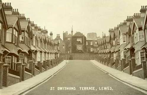 Postcard showing photo of St Swithuns Terrace, Lewes
