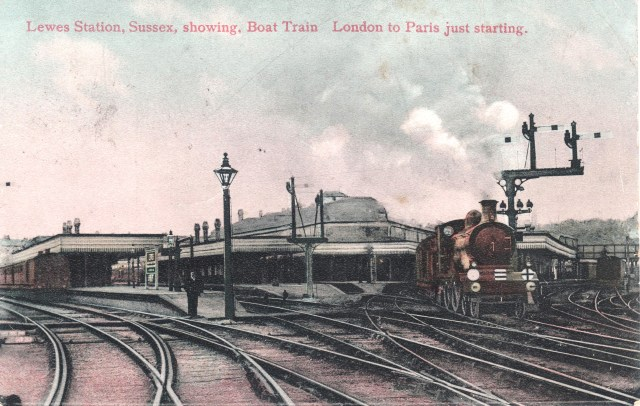 Post card of Lewes Railway Station c1905