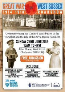 Great War West Sussex Roadshow poster