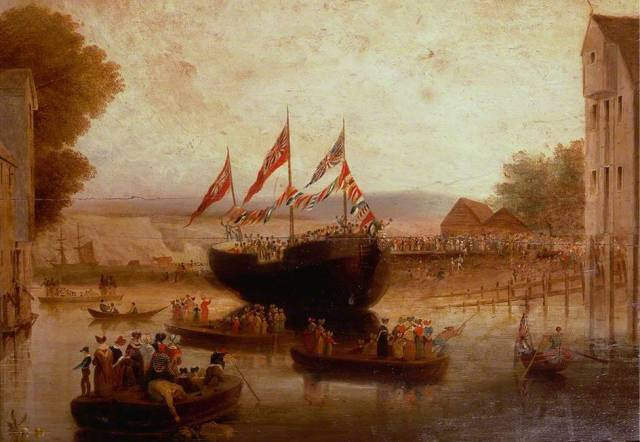 Launch_of_the_Lewes_Castle_c1839_painting