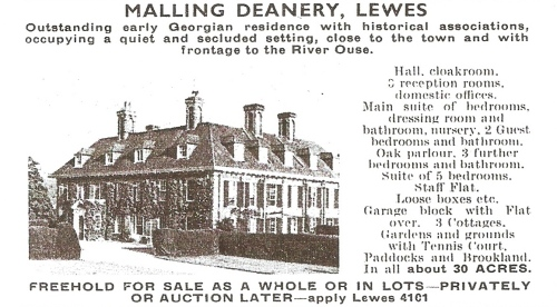 Rowland Gorringe ad Malling Deanery sale Country Life 1969