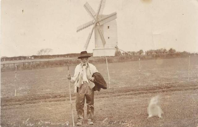 Sussex_shepherd_Kingston_windmill_postcard