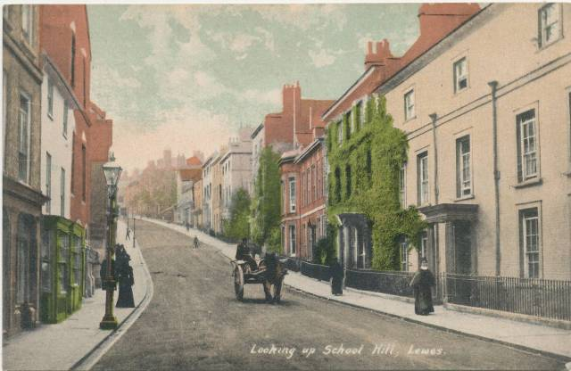 Looking_Up_School_Hill_Lewes_postcard