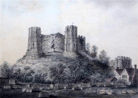 Lewes_Castle_from_the_cemetery_Lambert_1792