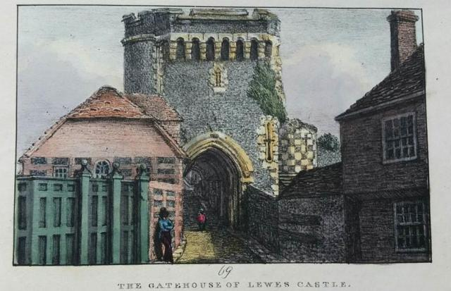 Gatehouse_of_Lewes_Castle_by_James_Rouse,1823