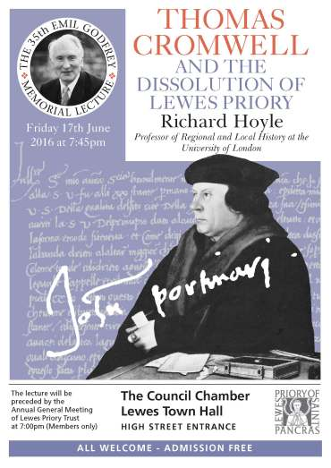 Lewes Priory Trust Hoyle lecture poster 2016