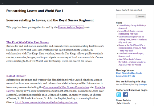 Lewes and WWI web page