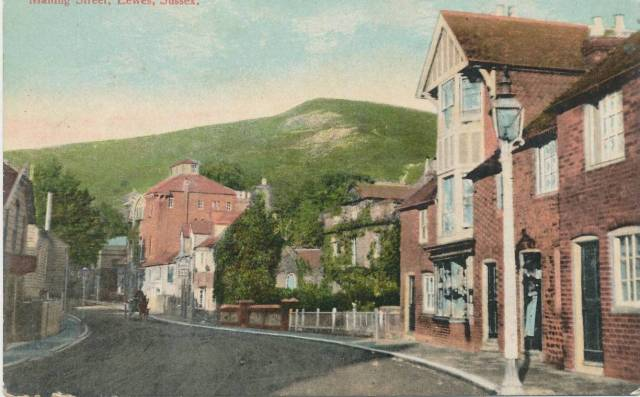 Malling_Street_Lewes_Homewood_hand-coloured_postcard