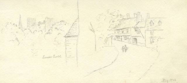lewes-castle-and-swan-inn-southover-1912-sketches