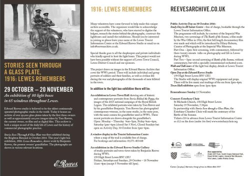Stories Seen Through a Glass Plate exhibition: 1916 Lewes Remembers leaflet