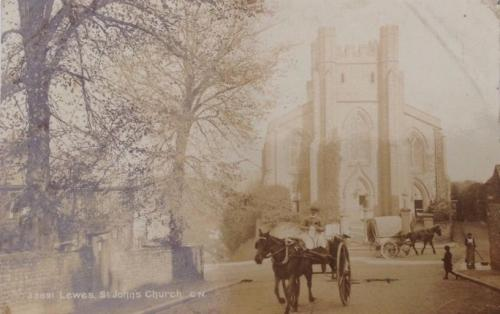Abinger Place and St John sub Castro Church, Lewes early postcard