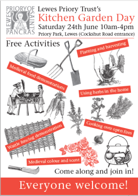 Lewes Priory kitchen garden day poster