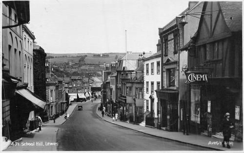 School Hill Lewes, 1920s postcard