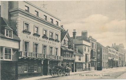 White Hart Hotel Lewes, Edwardian postcard
