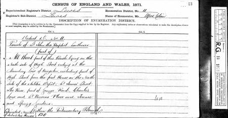 Census for St John the Baptist parish 1871