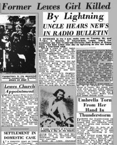 Girl killed by lightning 1954