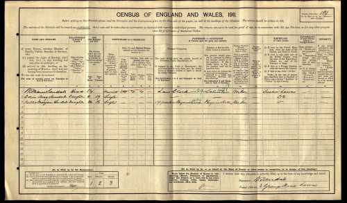 Sandals family 1911 Census, 2 Grange Road