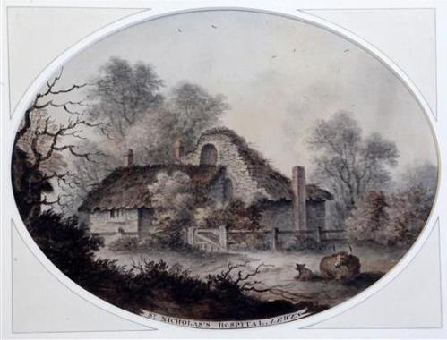 St Nicholas's Hospital Lewes with cattle James Lambert 1779