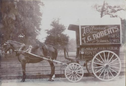 T.G. Roberts' horse drawn delivery van, Lewes, Edwardian photo
