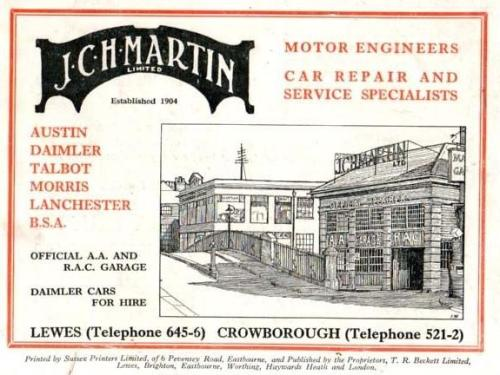Martin's Garage, Lewes, advertisement 1935
