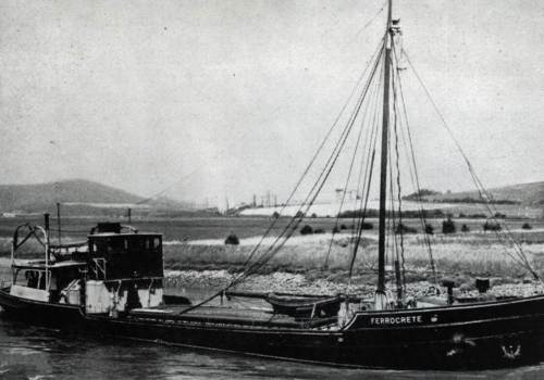 Ship named Ferrocrete on River Ouse, Sussex