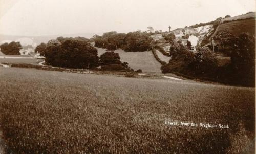 Lewes from the Brighton Road, A.H. Homewood postcard