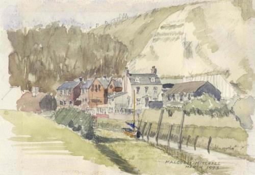 Watercolour of South Street, Lewes, by Malcolm Mitchell, 1913