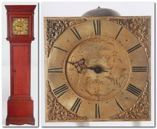 Harben longcase clock, and clockface, Lewes