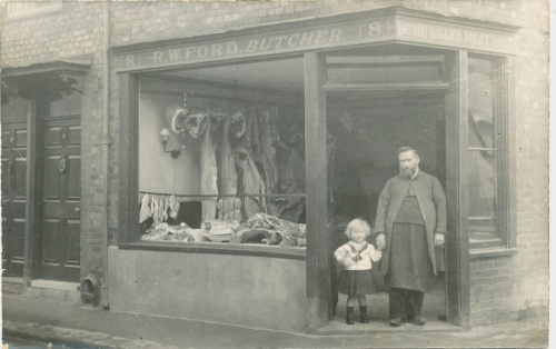 Butcher Robert Ford, South Street, Cliffe, Lewes, photo 1911