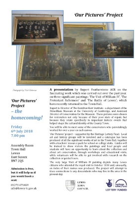 Lewes Town Hall paintings restoration talk July 2018