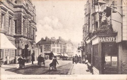 Lewes Town Hall, Smith postcard, 1908 postmark
