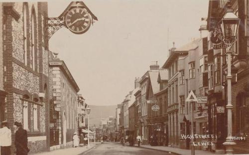 Lewes High Street postcard, Edwardian
