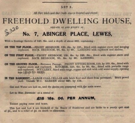 13. Particulars of sale 1920, 7 Abinger Place, Lewes