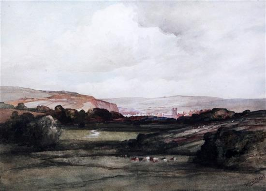 Valley of the Ouse, Sussex (Distant View of Lewes), Alfred William Rich watercolour