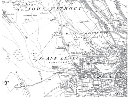 Ordnance Survey map showing Lewes 1911