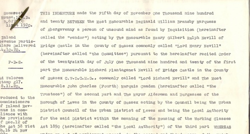 1920 agreement between Abergavenny Estate and Lewes Borough