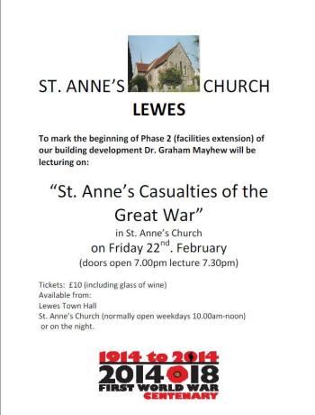 Mayhew St Anne's Casualties talk poster