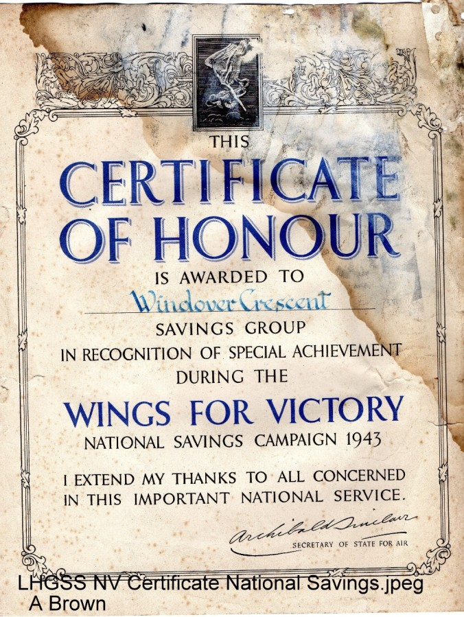 Lewes, Nevill 1943 National Savings Certificate