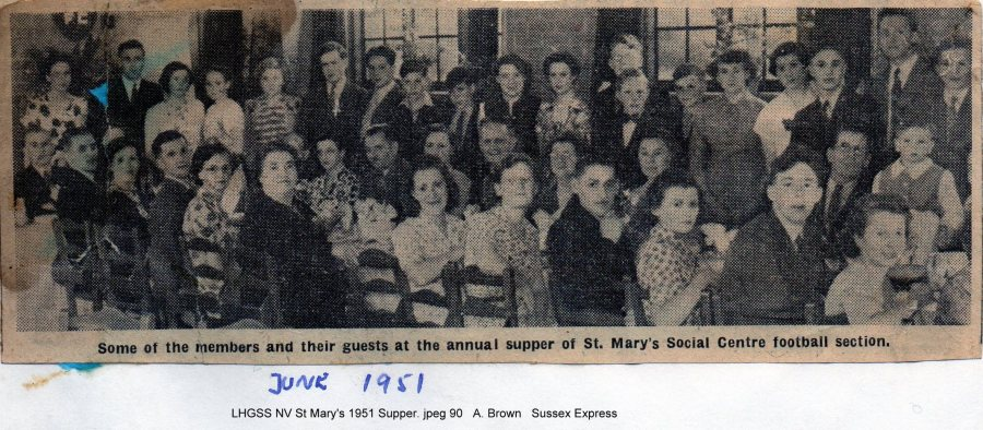 Lewes, Nevill 1951 St Mary's annual football supper