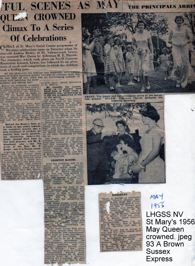 Lewes, Nevill 1956 May Queen crowned