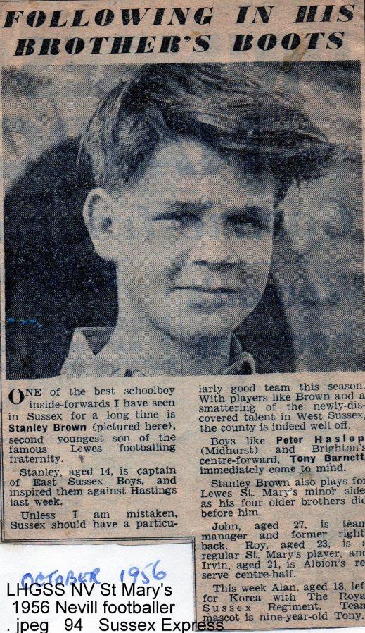 Lewes, Nevill 1956 Stanley Brown, footballer