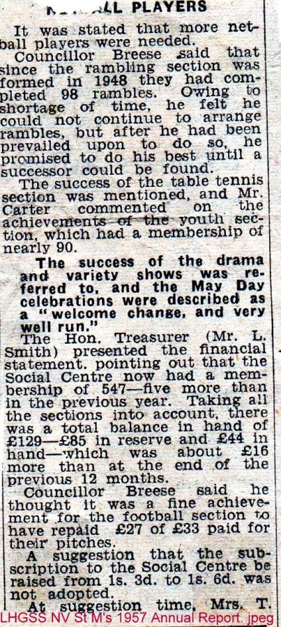 Lewes, Nevill 1957 St Mary's Church Hall Annual Report 2