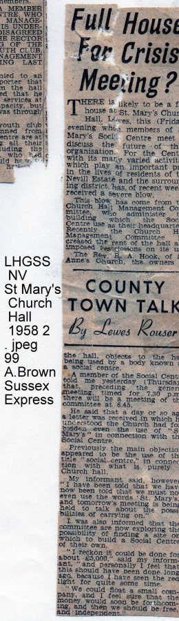 Lewes, Nevill 1958 Crisis Meeting, name St Mary's Church Hall Social Centre