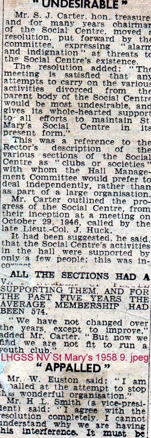 Lewes, Nevill 1958 Discussion on St Mary's Social Centre